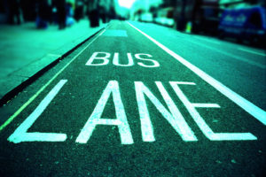 A bus lane on a city street